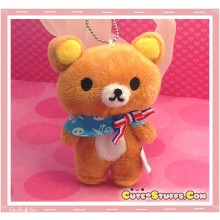 Kawaii Unique Large Plush Rilakkuma Bear Keychain Charm! Paris!