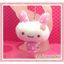 Kawaii Unique Polka Dot Bunny Plush Phone Charm - Pink!