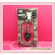 Kawaii Rare Andox Swivel Bobble Head Alloy Phone Strap Charm! Black