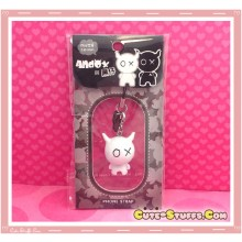 Kawaii Rare Andox Swivel Bobble Head Alloy Phone Strap Charm! White