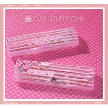 Kawaii Eyeglasses Case - Pink Bear Pin Pu