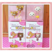 Rare Kawaii Rilakkuma or Korilakkuma + Dust Plug In-Ear Headphones Set!