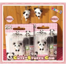 Kawaii Rare Flashing Panda Dust Plug Phone Strap U Choose!