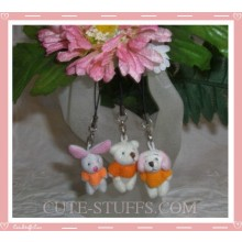 Mini Plush Kawaii Orange Shirt Bear Bunny or Dog Phone Strap
