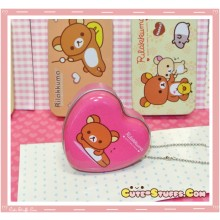 Kawaii Rilakkuma Heart Tin Keychain Pink Laying