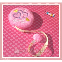 Kawaii Plush Retractable Tape Measure Ruler - Pink Hearts