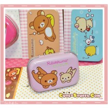 Kawaii Rilakkuma Tin Keychain Pink Laying Down