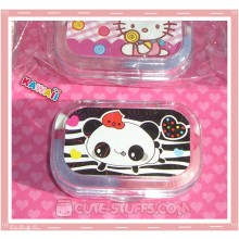 Kawaii Sparkle Travel Lens Case or Trinket Box! - Panda Stripes