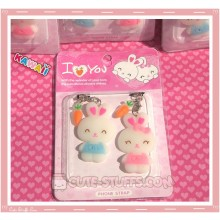 Kawaii Rare  Bunny Phone Strap Set! Pink & Blue!