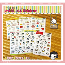 Kawaii Miss Ma 6 Sheet Diary & Planner Transparent Stickers!