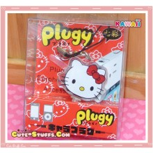Kawaii Rare Flashing Transparent Head Dust Plug! Hello Kitty Red