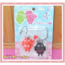Kawaii Rare Android Robot Phone Strap Set! Red & Black!