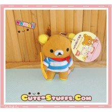 Large Rilakkuma Cafe Series Plush Blue Baguette Keychain