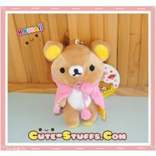 Large Rilakkuma Cafe Series Plush Pink Cape Keychain