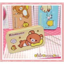 Kawaii Rilakkuma Tin Keychain Brown Happy Day