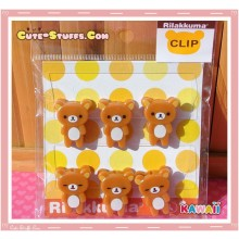 Kawaii San-X Rilakkuma 6 pc Clips Set