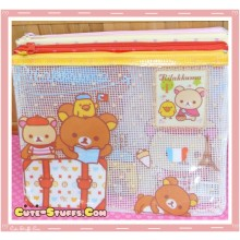 Kawaii Large Rilakkuma France PVC Mesh Pouch