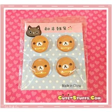 Kawaii Rilakkuma 4 pc Pin Badge Set