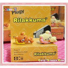 Kawaii 3.5mm Rilakkuma w/ Korilakkuma Pillow Dust Plug Set Duo