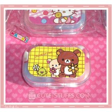 Kawaii Sparkle Travel Lens Case or Trinket Box! - Rilakkuma Flowers