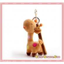 Large Kawaii Nanaco Giraffe Plush Key Chain w/ Wrist Strap!  Brown!