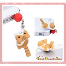 Rare Kawaii Nico Nico Nekomura Cat 3.5mm Yarn Dust Plug! Orange