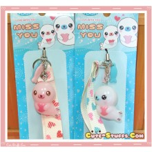 Kawaii Rare Flashing Seal Phone Charm! w/ Wrist Strap