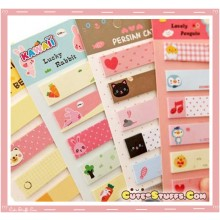 Kawaii 6 Style Set Mini Post It Notes or Bookmark Tabs!