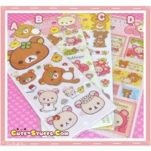 Kawaii San-X Rilakkuma Thick Stickers - 2 Sheets!