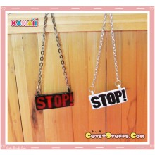 Kawaii STOP! Resin Coated Necklace Black or White - U Choose Color!