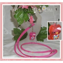 Kawaii Rare Flashing Hello Kitty Rubber Translucent Lanyard! Pink