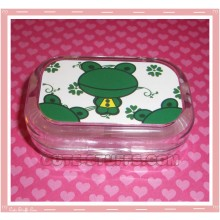 Kawaii Travel Lens Case or Trinket Box! - Frog Dark Green