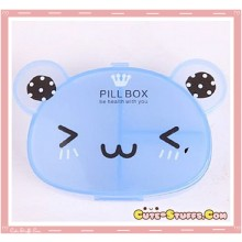 Kawaii Pill or Trinket Box - Clear Blue Bear!