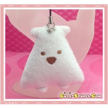 Kawaii Unique Plush Triangle Phone Strap or Keychain Charm! White!