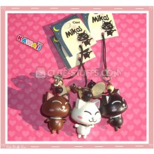 Kawaii Wood Series Mika Cat Phone Strap charm! U Choose!