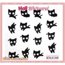 Rare Kawaii Nail Stickers! Cute Black Cat!