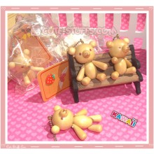 Kawaii Wood Series Bear Phone Strap charm! Moveable Limbs!