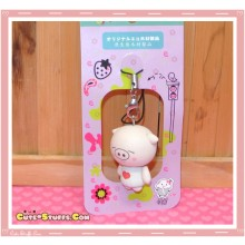 Kawaii Wood Series Pig Phone Strap charm! White Heart!