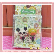 Kawaii 3.5mm Wood Panda & Chick Dust Plug Set Duo